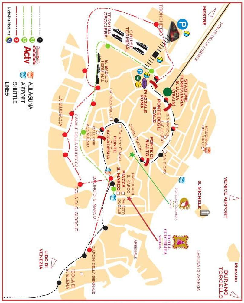How to reach us - Hotel Colombina - Venice Venice Cruise Ship Terminal Map on venice italy tourist attractions map, train station venice map, venice airport map, venice italy hotel areas map, venice grand canal map, downtown venice map, venice lagoon map,